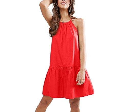 Vestito corto da donna LOLITA bretelline regolabili tessuto morbido. MEDIA WAVE store ® (S, Rosso)