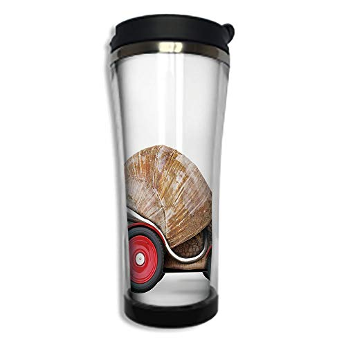 (Travel Coffee Mug 3D Printed Portable Vacuum Cup,Insulated Tea Cup Water Bottle Tumblers for Drinking with Lid 8.45 OZ(250 ml)by,Funny,Speedy Snail Like Car Racer on Wheels Success Ambition Goal Creat)