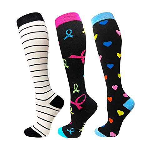 SOOVERKI Compression Socks for Women & Men 20-25 mmHg - 1/4 Pairs - Best for Running,Athletic,Travelling, Nurses & Pregnancy Colorful 1, S/M -
