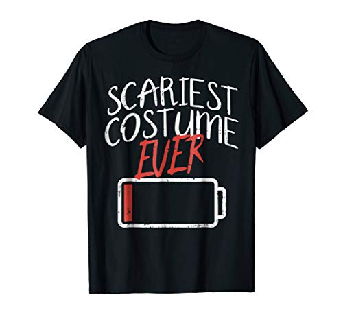 Funny Halloween Shirt Scariest Costume Ever Low Battery ()