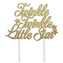 Twinkle Twinkle Little Star Cake Topper in Gold Glitter for Baby Shower or Birthday Party