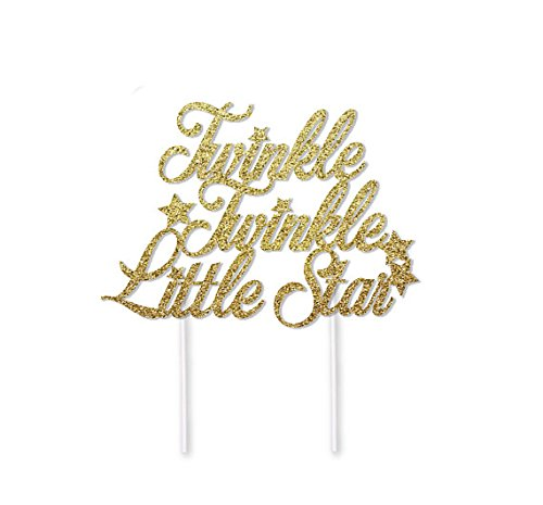 Twinkle Twinkle Little Star Cake Topper in Gold Glitter for Baby Shower or Birthday Party ()