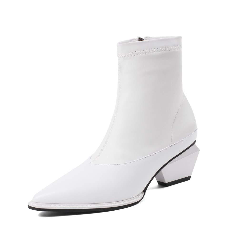 White Nine Seven Genuine Leather Women's Pointed Toe Exquisite Mid Heel Side Zipper Handmade Comfort Walking Dress Ankle Booties