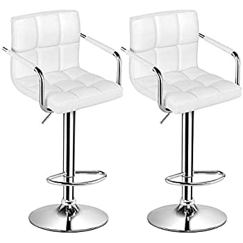 dd74c56ae57a Yaheetech Tall Bar Stools Set of 2 Modern Square PU Leather Adjustable BarStools  Counter Height Stools