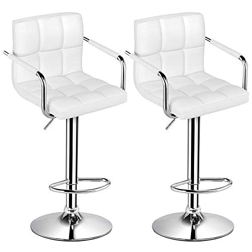 Yaheetech Bar Stools Set of 2 Modern Square PU Leather Adjustable BarStools Counter Stools with Arms and Back Bar Chairs Counter Height 360° Swivel Stool (Cream White)