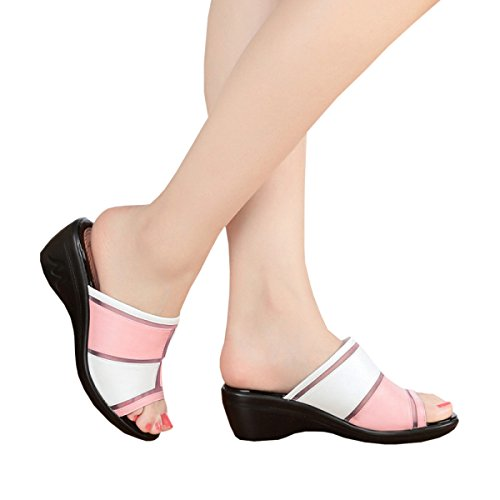 Dfb Female Cool Slippers Slope With Thick Bottom Lady Word Slippers With Fight Color Slippers For Women,LightPink-39