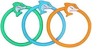 ألعاب السباحة 3 قطع خواتم الغوص القرش تحت الماء حوض السباحة ألعاب حمام السباحة، هدية تدريب الغوص للأطفال