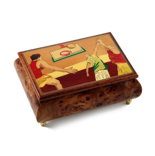 Sports Theme Wood Inlay:Basketball - Collectible Musical Jewelry Box - In the Good Old Summertime by MusicBoxAttic