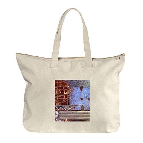 St Augustine In Prayer #1 (Botticelli) Canvas Beach Zipper Tote Bag - Center Shopping Augustine St