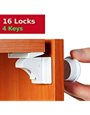 Baby Proofing and Child Proof Magnetic Cabinet Locks (16 Locks) for Child Safety | Cabinets, Cupboards and Drawers | No Screws and Hidden - by Baby Trust