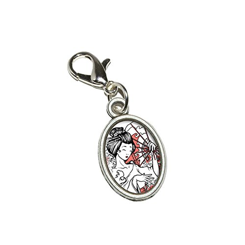 Graphics and More Japanese Geisha - Asian Fan Flowers Antiqued Bracelet Pendant Zipper Pull Oval Charm with Lobster Clasp