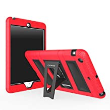 iPad Mini 1 / 2 / 3 Case, MoKo Silicone + Black Hard Polycarbonate Protector with Foldable Stand Cover Case for Mini 3, Mini 2 and Mini (2012 1st gen), RED (Will not fit iPad Mini 4)
