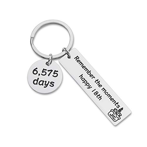 Vanlovemac Happy 18th Birthday Gift for Boys Girls Teenage Son Daughter Keychain From Dad Mom Best Friend Sister Brother Birthday Key Ring for Teen Women Men