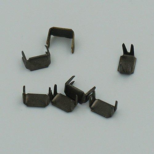 Bluemoona 200 Pcs - #5 Zipper Stoper Top Stops Bottom Rescue Repair Set Rectangle (Gun Black)
