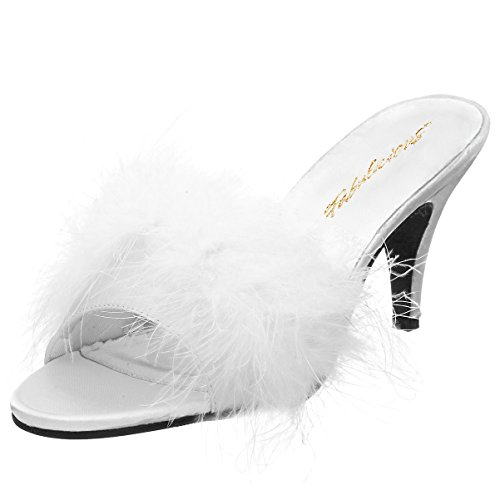 (3 Inch Classic Marabou Slipper Faux Fur Sexy Shoes White Satin Size: 8)