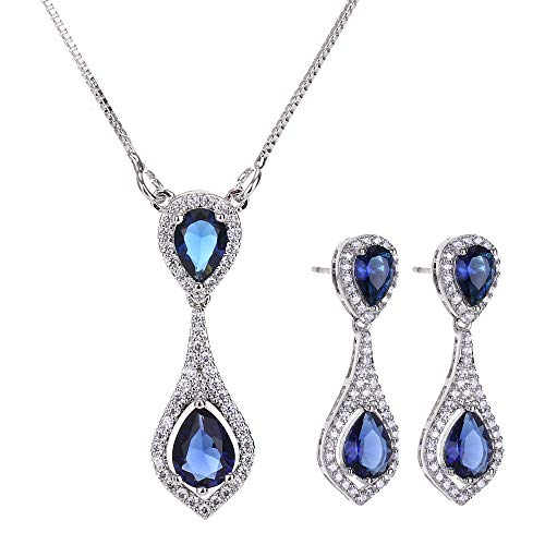(AMYJANE Wedding Jewelry Set for Bride - Elegant Sterling Silver Bridal Elegant Blue Sapphire Crystal Cubic Zirconia Teardrop Pendant Necklace Earrings Set for Teen Girls Bridesmaids)