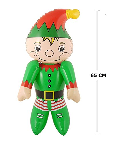 Large Inflatable Blow Up Fancy Dress Hen Elf Christmas Party Decorations Toy by Lizzy® (Inflatable Elf 65cm)