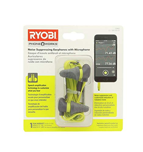 Ryobi ES8000 Phone Works Jobsite Noise Suppressing Earphones with Voice Amplifying Microphone ()