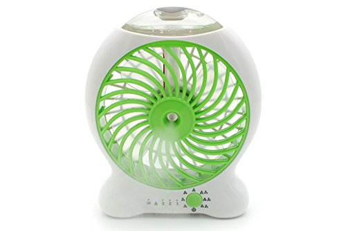 COHK Handheld Misting Fan Mini USB Fan Mini Desk Fan with Personal Cooling Mist Humidifier Three Speeds Control (Green) by COHK