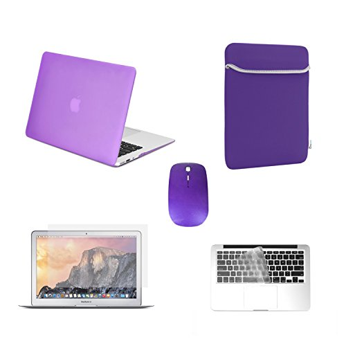 TOP CASE - 5 in 1 Bundle Rubberized Hard Case, Keyboard Cover, Screen Protector, Sleeve Bag and Mouse Compatible with Apple MacBook Air 11
