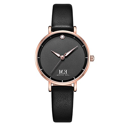 Women%27s+Classic+Quartz+Watch+30M+Waterproof+Round+Analog+Wrist+Watches+with+Black+Genuine+Leather+Gifts+for+Her