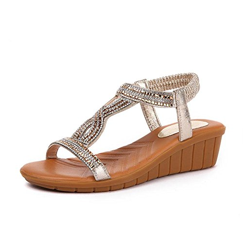 Sandalen L@YC Frauen Slip Sandals 2017 Sommer Strass Flat Beach Leisure Beach Wild Student shoes , yellow , 35