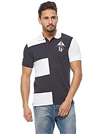 Louis Feraud White & Navy Shirt Neck T-Shirt For Men