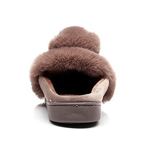 Vertvie Artificielle Mignon Brun Pour Antidérapant Mules Chauds Femme Hiver Pantoufles Chaussures Lapin Maison Fourrure Chaussons vvwq8