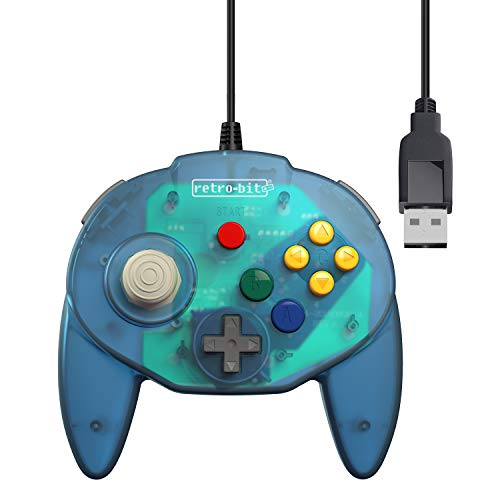 Retro-Bit Tribute 64 USB Controller for PC, Nintendo Switch, Mac, Steam, RetroPie, Raspberry Pi - USB Port - (Ocean Blue) (Best Nintendo 64 Emulator For Pc)