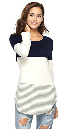 Tmrow 1pc Women Casual Crewneck Long Sleeve Striped T-Shirt Blouse Tops,XL by Tmrow