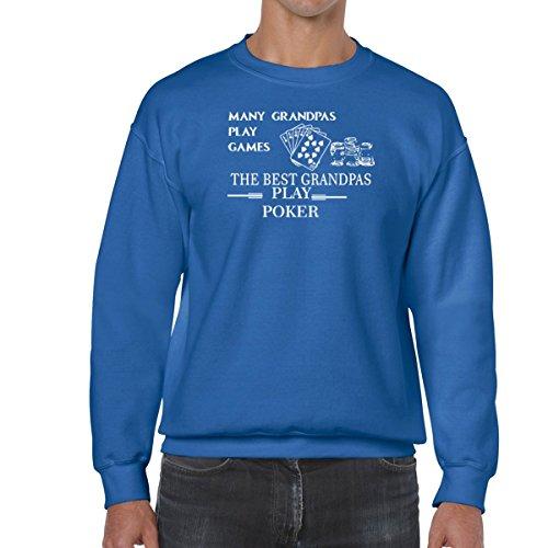 Poker Dog Play (AW Fashions Many Grandpas Play Games, The Best Grandpas Play Poker - Funny Unisex Crewneck Sweatshirt (XX-Large, Royal Blue))