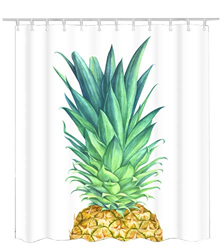 Becan Pineapple Shower Curtain Watercolor Pineapple Tropical Exotic Fruit Green Yellow Concise Design Polyester Fabric Waterproof Bathroom Shower Curtain 72X72Inches with 12pcs Hooks (Shower Exotic Curtains)