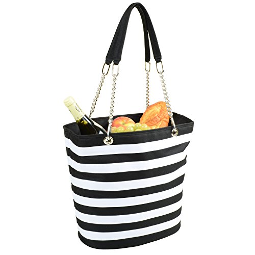 Stripe Large Tote - Picnic at Ascot Large Insulated Fashion Cooler Bag - 22 Can Tote - Black Stripe