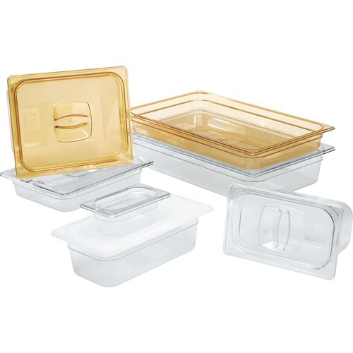 Rubbermaid Commercial Hot Food Pan Cover with Notch, 1/2 Size, Amber, FG228P86AMBR