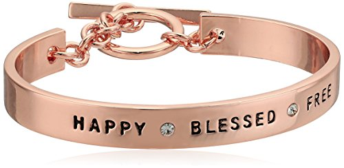 BCBG Generation Rose Gold Crystal Happy Blessed Free Cuff Bracelet