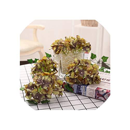13-15cm Hydrangea Flower Head 27 Forks Wedding Party Decorative Silk Flowers DIY Wreath Wedding Wall Road Lead Arch Flowers,NO 3 ()
