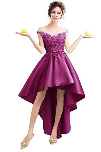 Besswedding Haute Robes De Demoiselle D'honneur En Satin À Manches Bas Chapeau Robe Maxi Partie Purple2 Femmes