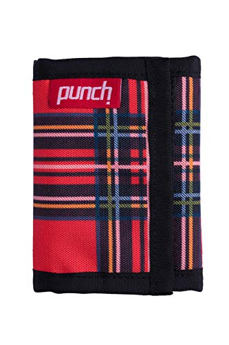Plaid Tri Fold Wallet - Trifold fabric wallet. Fun wallets for men. Durable non leather, weather proof, ballistic nylon. Punch (Plaid Scottsman)