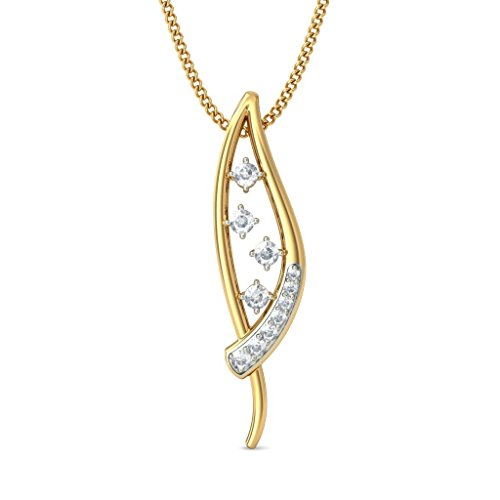 14 K Or jaune 0,21 CT TW Round-cut-diamond (IJ | SI) Pendentif