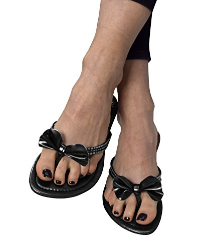 Peach Couture Women's Bow Sequin Embellished Flat Flip Flop Thong Slip on Sandal Black (Couture Bow)