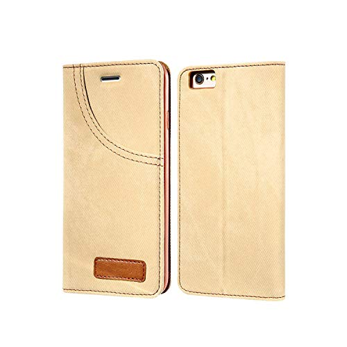 New face Phone Case for iPhone 6 6S 7 Plus Leather Jean Denim Cloth Anti-Knock for iPhone 7 6 6s Cases Flip Card Holder Shells,Light Brown,for iPhone 7 Plus