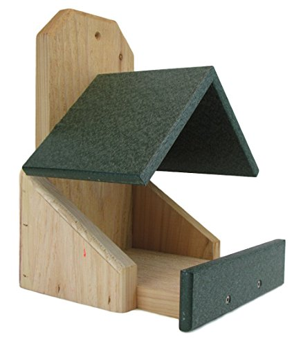 JCs Wildlife Cedar Robin Roost Birdhouse with Recycled Poly Lumber Roof, Green Cedar Roof Birdhouse