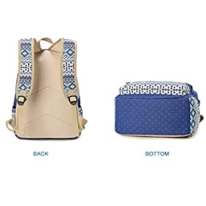 Feteso Teens Girls Canvas Backpacks Set 3 Pieces Bookbag School Backpack Travel Bag (Sapphire Blue)