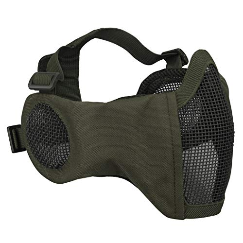 IDOGEAR Airsoft Masks, Adjustable Airsoft Half Face Mask Steel Mesh with Ear Protection, Military Style Tactical Lower Face Mask for Hunting, Paintball, Shooting (Ranger Green)