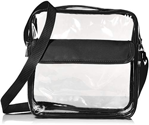 Stadium Approved Clear Messenger Bag/Large 10 Inches Cross Shoulder/Event Security Compliant/Transparent (Black)