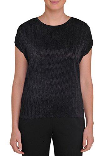 Nygard Women's Plus Size Tan Jay Zigzag Cap Sleeve Liner Black