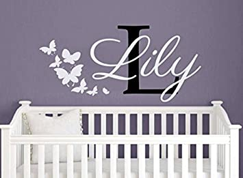 Amazoncom Wall Decals Personalized Name Butterflies Vinyl - Personalized custom vinyl wall decals for nurserypersonalized wall decals for kids rooms wall art personalized