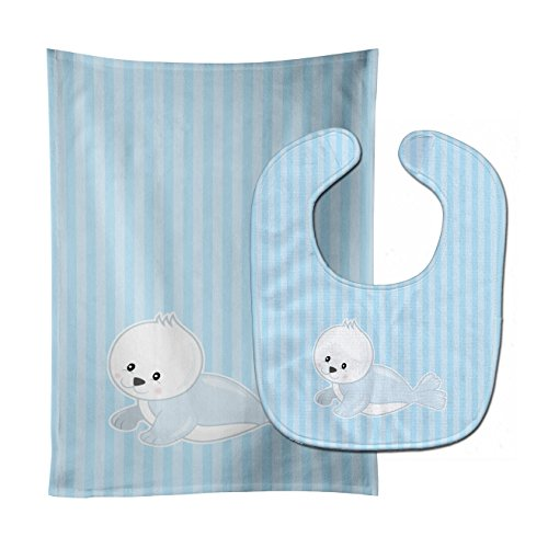 Caroline's Treasures Seal on Stripes Baby Bib & Burp Cloth, Multicolor, Large