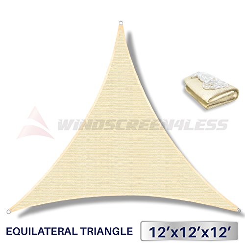 Windscreen4less 12' x 12' x 12' Sun Shade Sail Canopy in Beige with Commercial Grade (5 Year Warranty) Customized Sizes Available