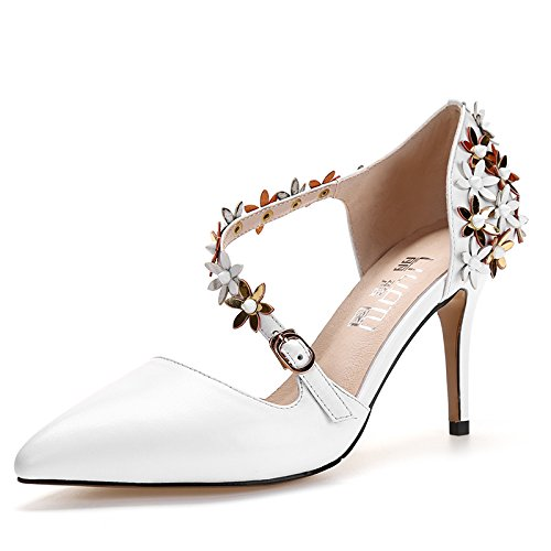 blanc 8 centimeters Thirty-four ZHUDJ Les Fleurs du Printemps avec des Talons Hauts, Chaussures, Simple Et Blanc Creux Hautes Chaussures De Talon